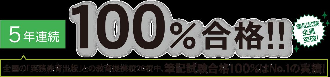 5年連続100%合格 筆記試験全員突破!